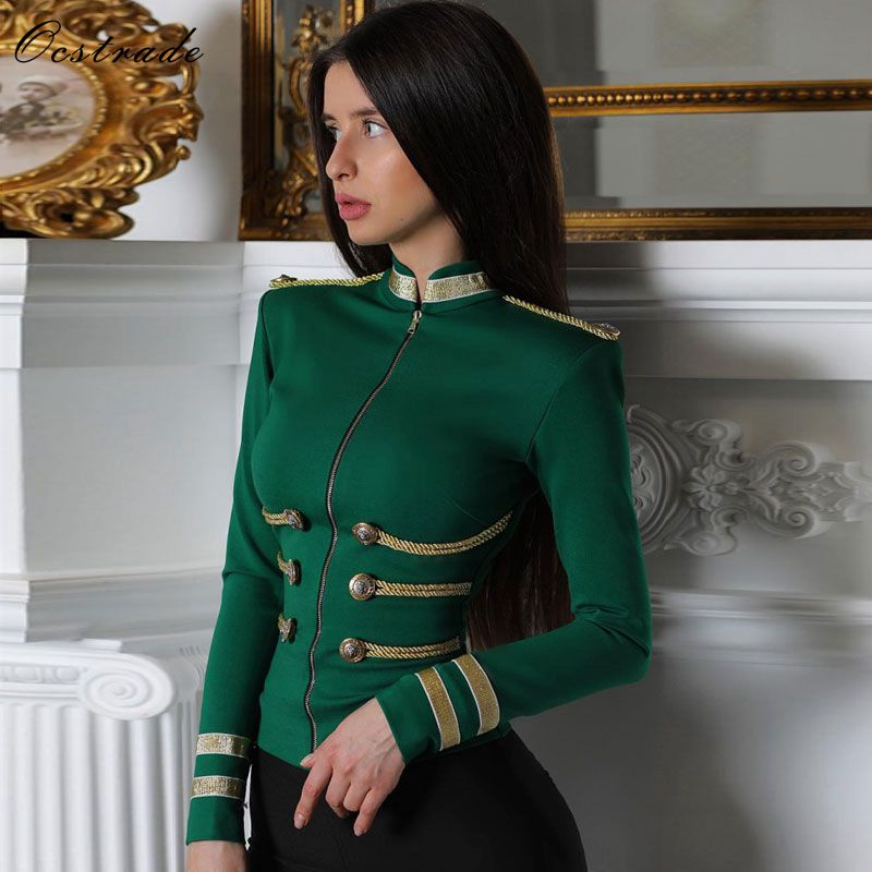 Ocstrade Women Jackets Spring Autumn Coat 2020 Party High Quality Green Plus Size Elegant Long Sleeve Bandage Jacket Bodycon