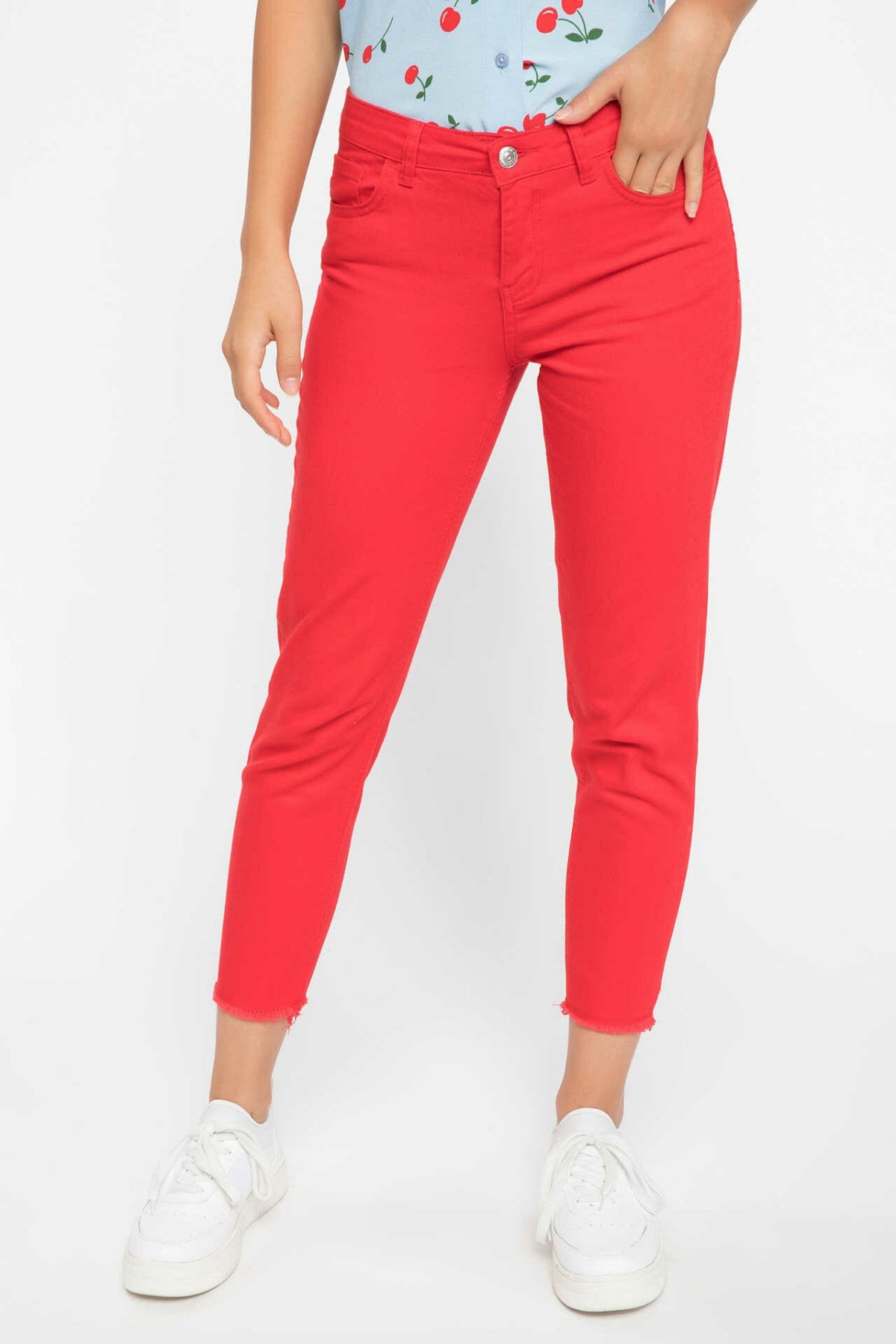 Cotton  Casual Red Jeans