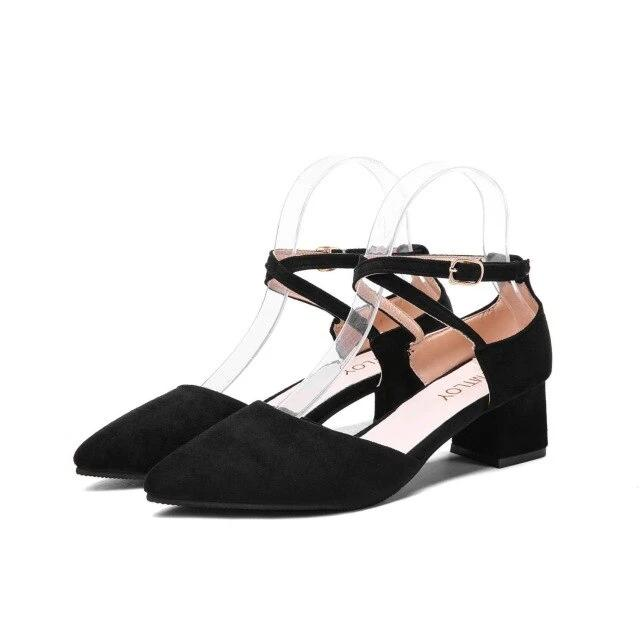 YTMTLOY  Buckle Pointed High heels