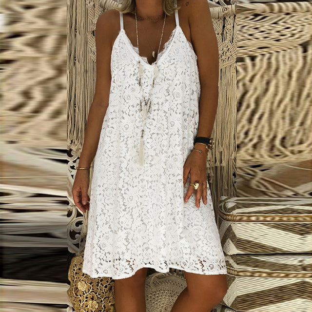 Solid  Elegant Sweet Lace Dress