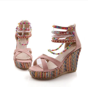 Bohemian High Heel Wedge Sandals