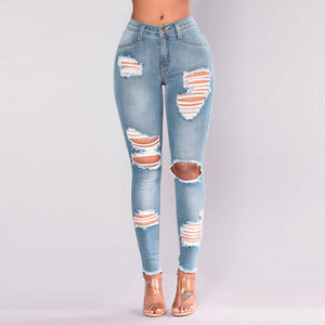 Solid Color Hole Feet Jean