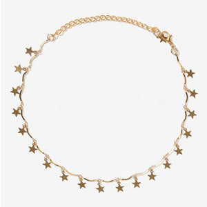 Punk  Gold  Star Tassel Choker  Necklace
