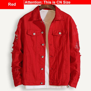 Plus Size Loose Ripped Black Denim Jacket Women 4Xl 5Xl Spring Streetwear Pink Red Basic Lover'S Jeans Coat Casual Outwear