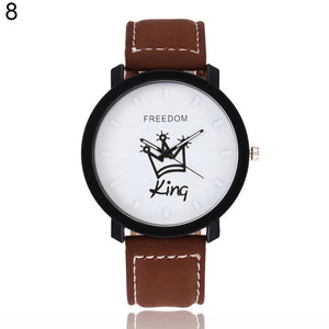 Couple Watch Queen King Crown Fuax Leather Quartz Analog Wrist Watches Chronograph 2018women men
