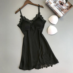 Women Nightgowns Sexy Nightwear Lace Patchwork Camisola Lingerie Nighty Wedding Silk Dress Sleep Wear Nightdress Clothes