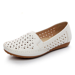 2020 summer spring breathable women loafers shoes soft bottom female flats comfortable soft PU leather casual women shoes