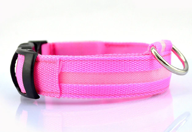 Nylon LED Pet Collar, Night Safety Flashing Glow In The Dark, Dogs Luminous Fluorescent Collars