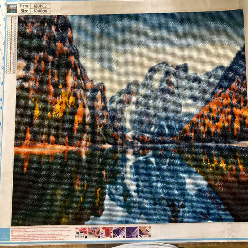 diamond painting lac montagne