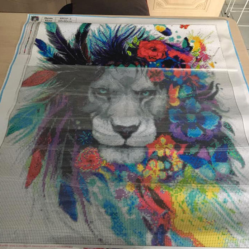 diamond painting lion coloré