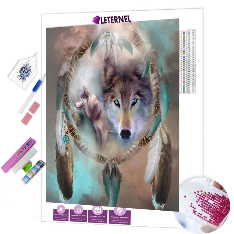 Diamond painting attrape rêve loups