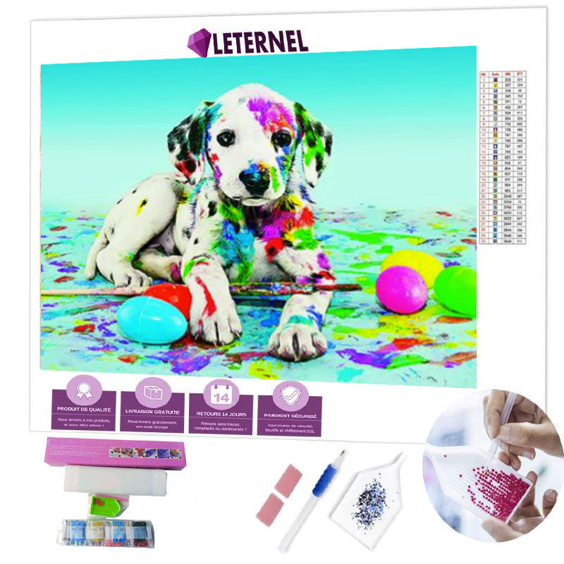 diamond painting chien multi couleurs