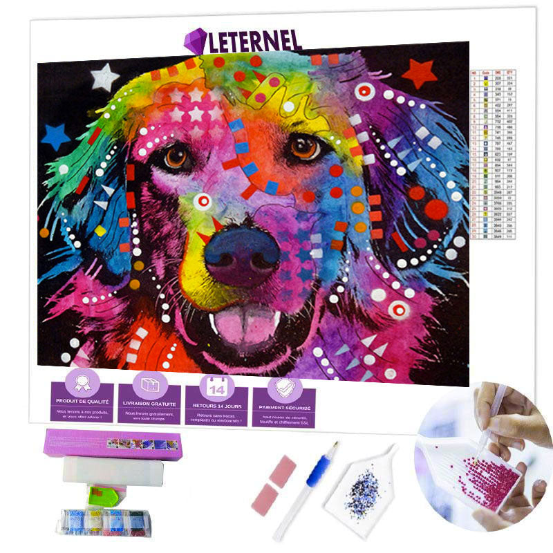 diamond painting chien multi-couleurs