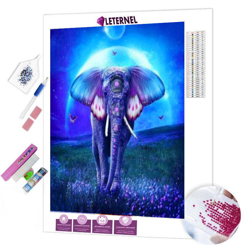 diamond painting éléphant bleu