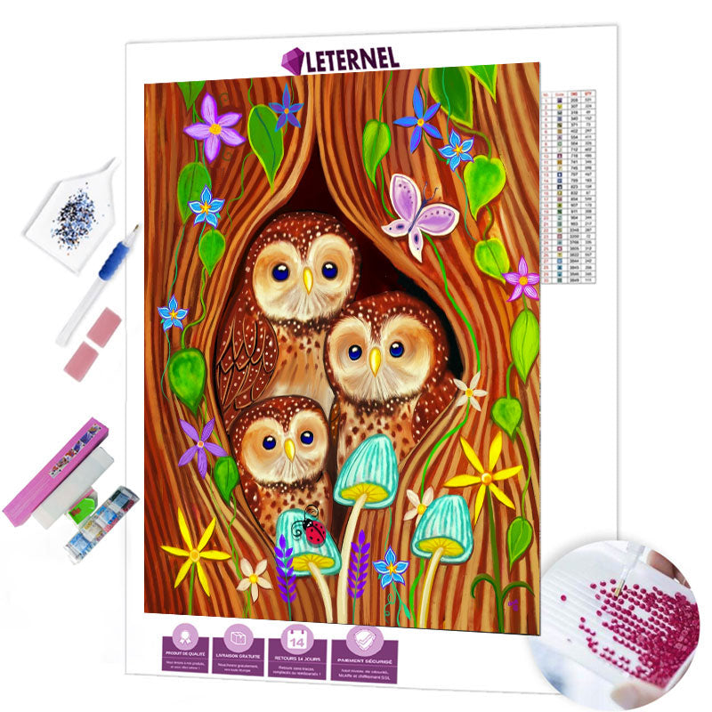 Broderie Diamant - Famille hibou