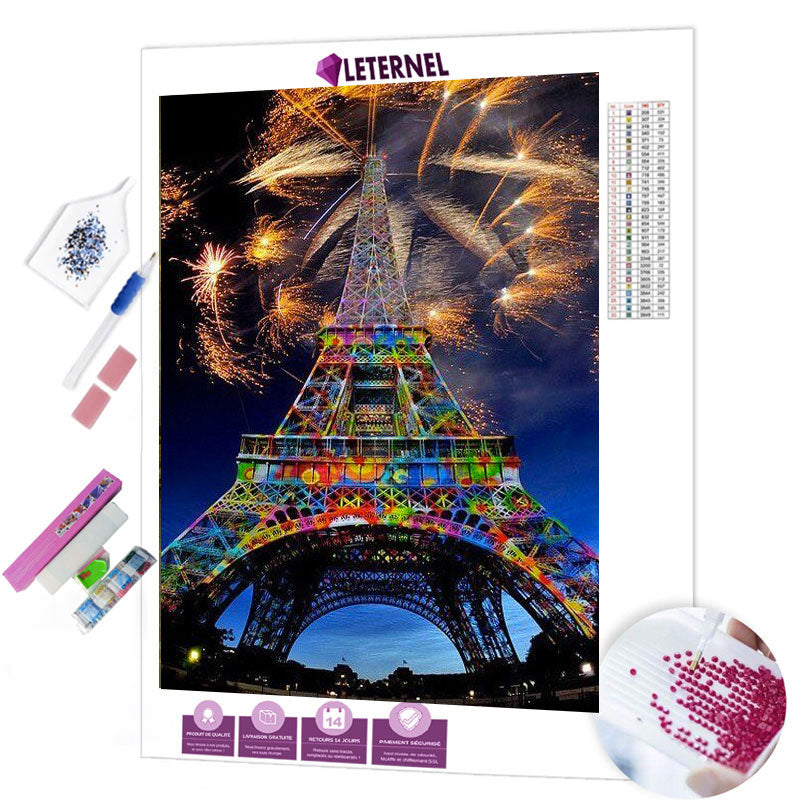 diamond painting feu d'artifice tour eiffel