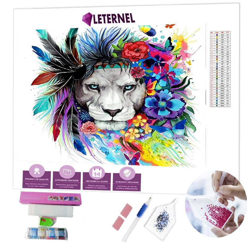 Broderie Diamant - Lion coloré