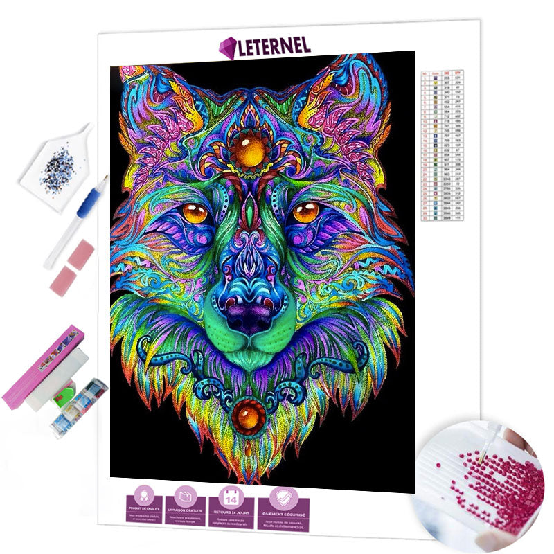 diamond painting loup coloré