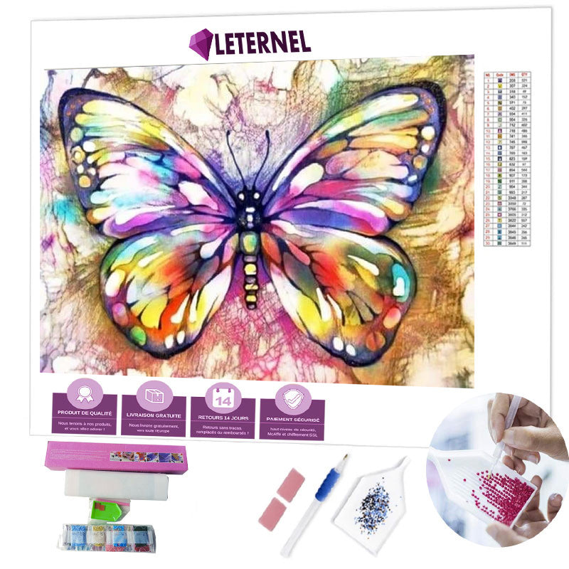 diamond painting papillon multi couleurs