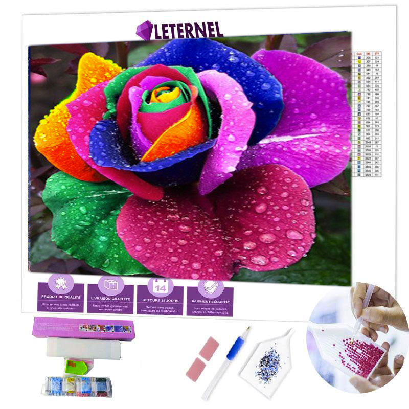 Broderie Diamant - Rose multi-couleurs