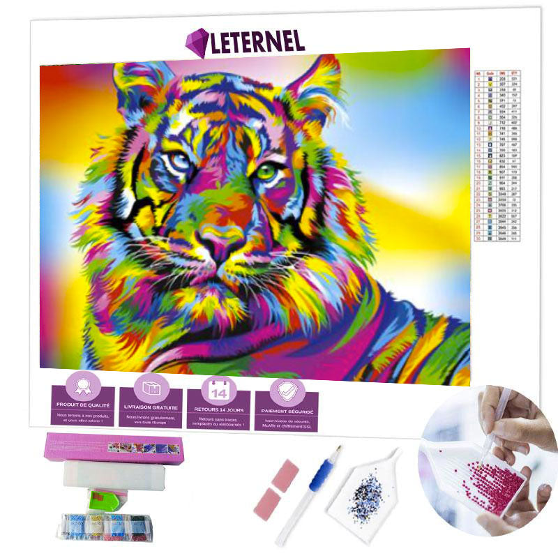 diamond painting tigre multi couleurs