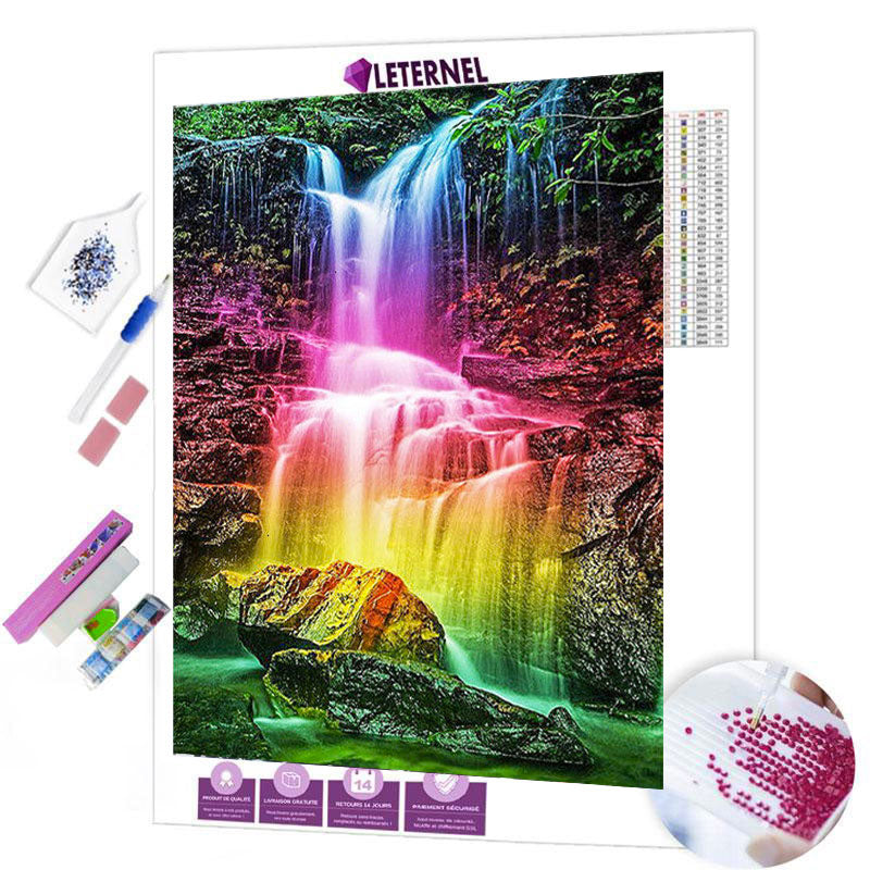 diamond painting cascade multi couleurs