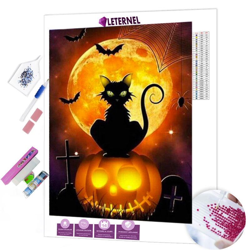 diamond painting chat halloween