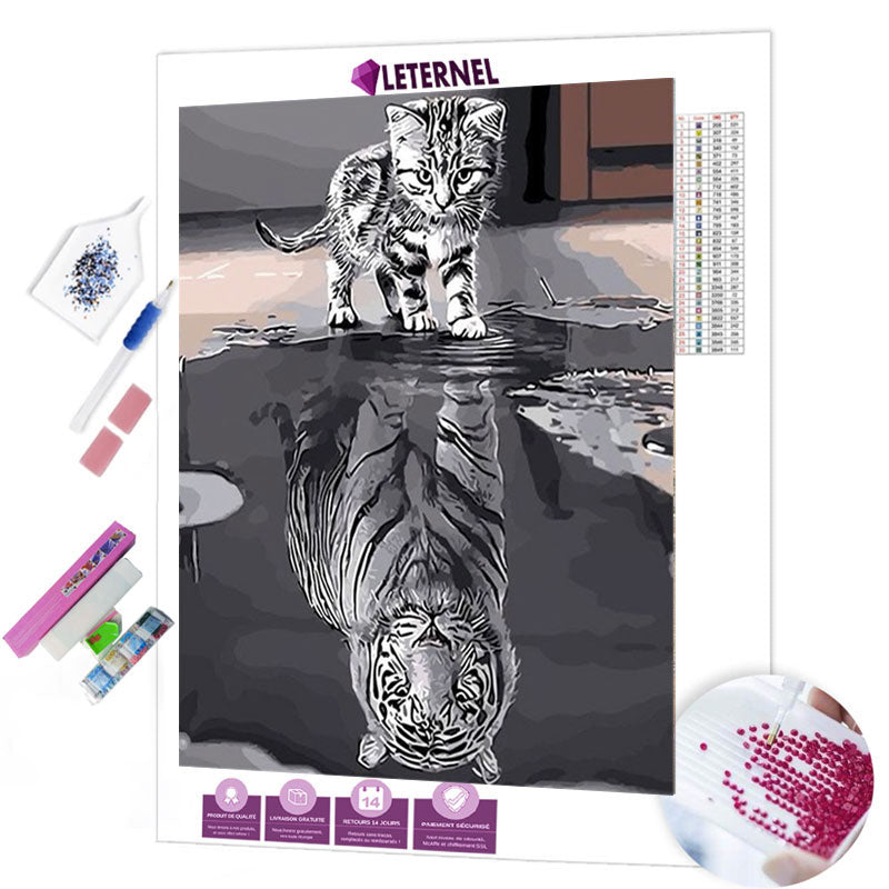 diamond painting chaton tigre