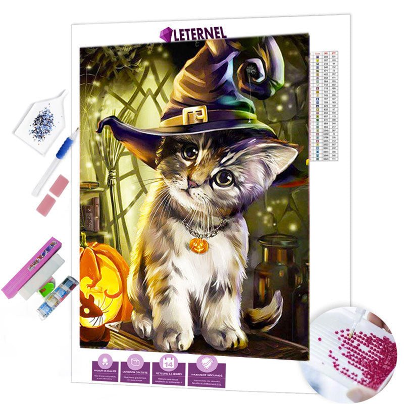 diamond painting chaton halloween