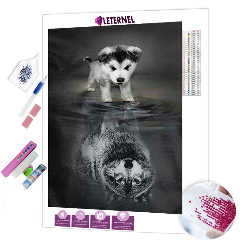 diamond painting chiot reflet loup