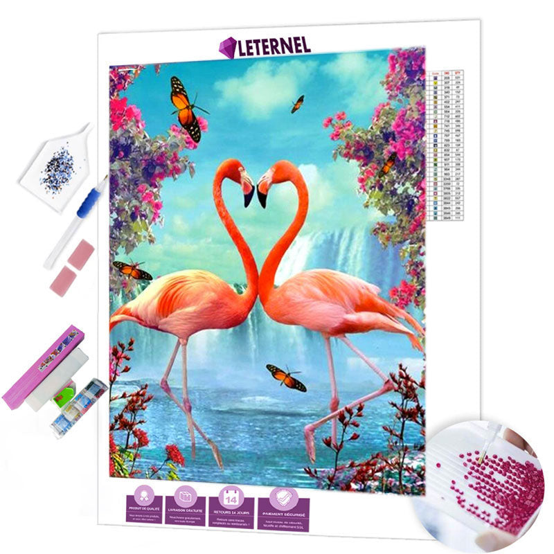 diamond painting coeur flamants roses