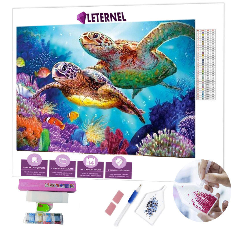 Broderie Diamant - Duo tortues