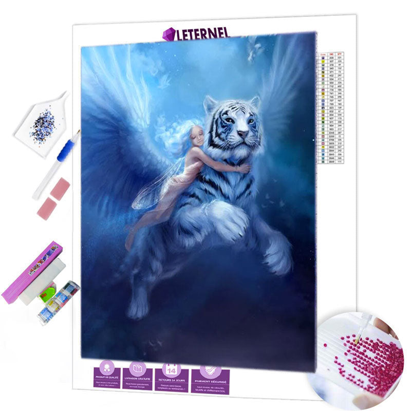 diamond painting fée tigre bleu