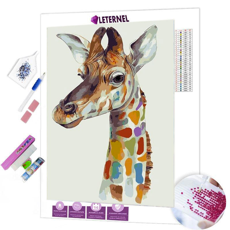 diamond painting girafe colorée