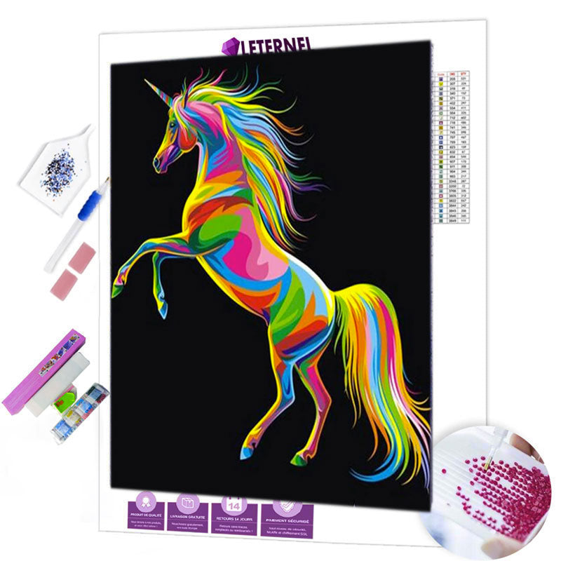 diamond painting licorne colorée