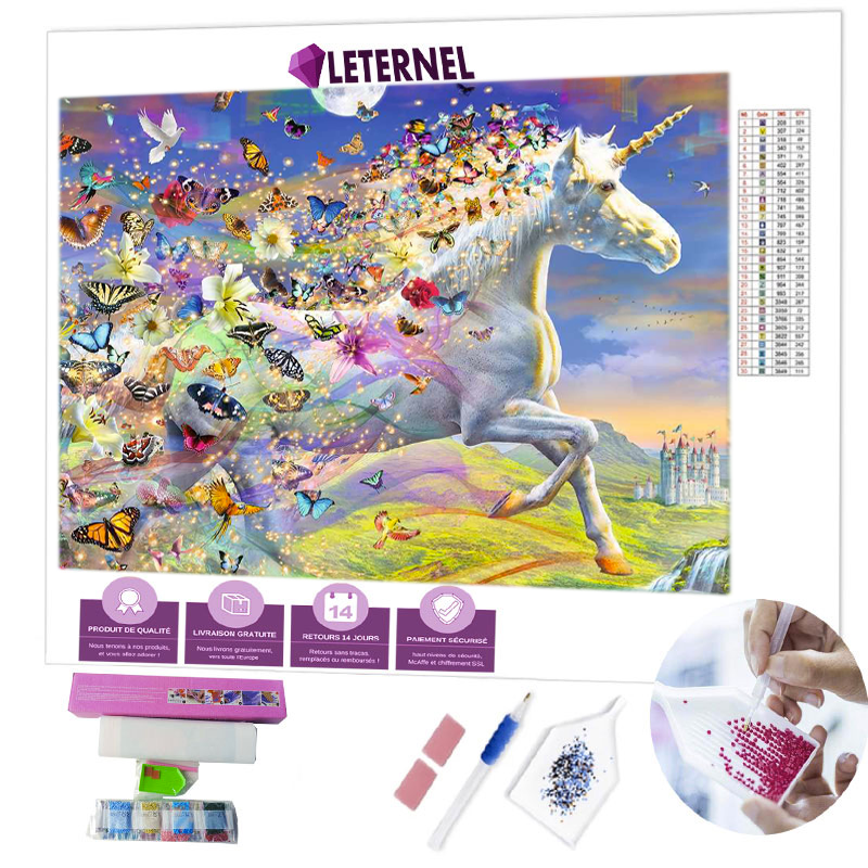 Broderie Diamant - Licorne & papillons