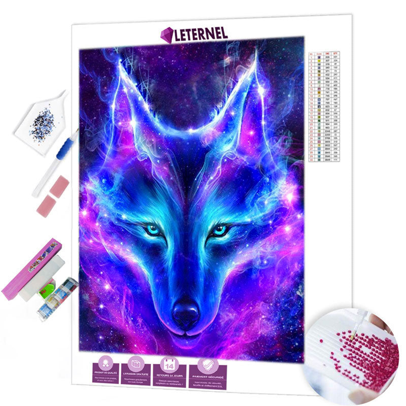 Broderie Diamant - Loup galaxy