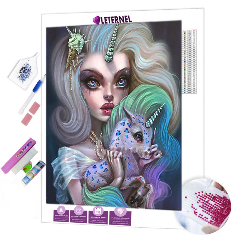 diamond painting poupée licorne
