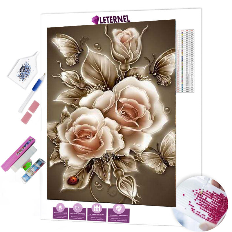 diamond painting rose blanche