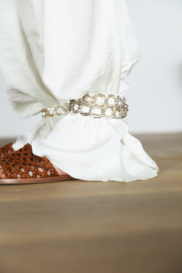 Satin pants chain details on ankle