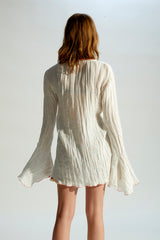 MATI - Fluted-sleeve crinkled linen shirt