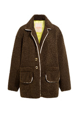 SHERI - Shearling jacket with piping