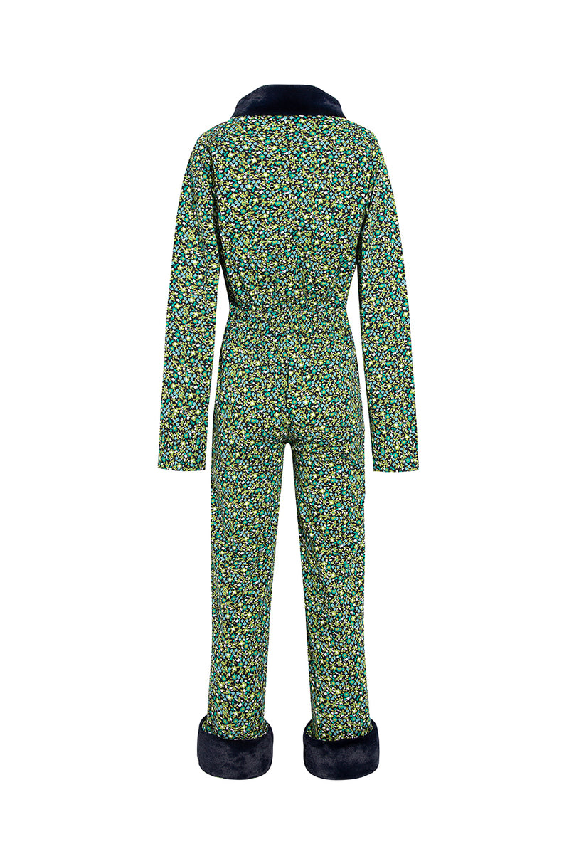 VINCENT - Printed jump suit with faux fur details
