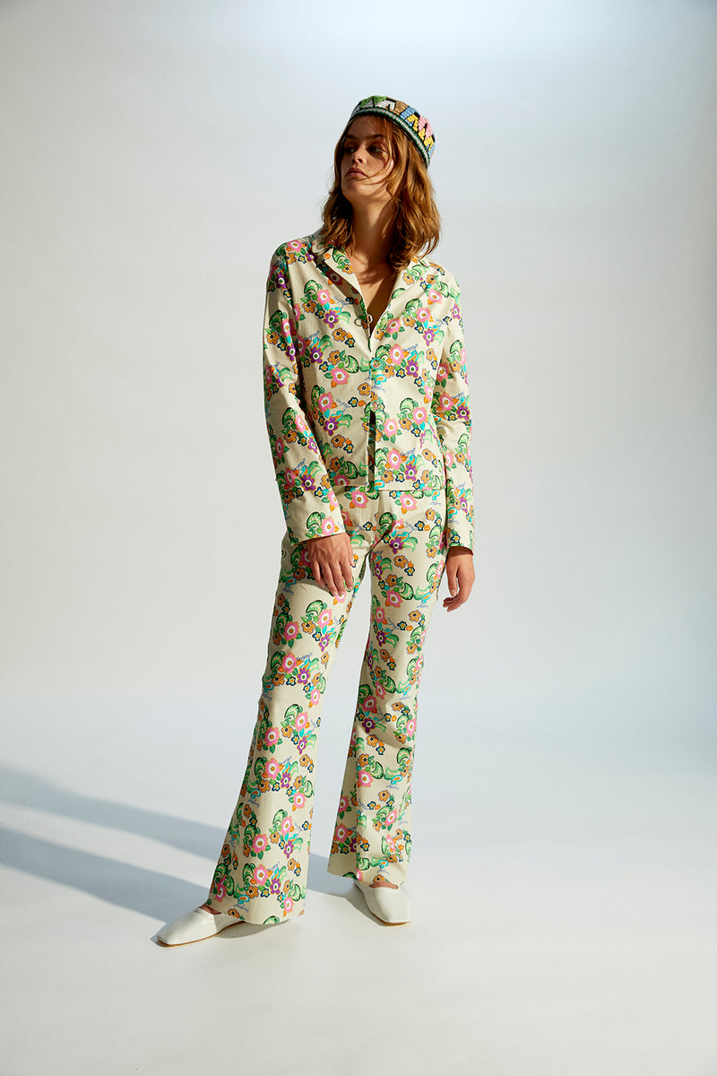 ISLA - Flower printed suit pants