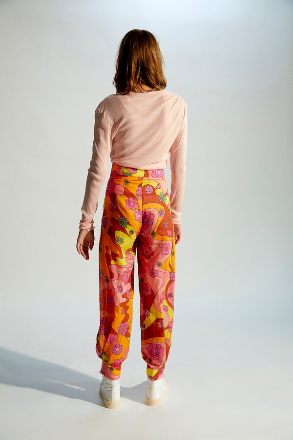INES - Piped printed cotton pants