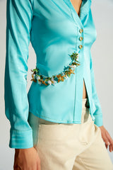ISSA - Satin shirt with flower chain detail