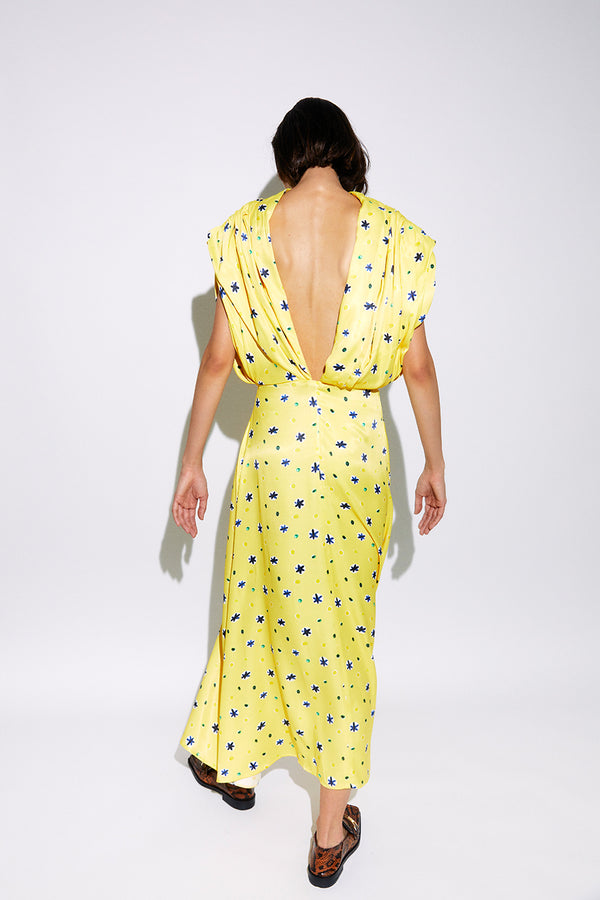 MATILD - Printed open back satin maxi dress
