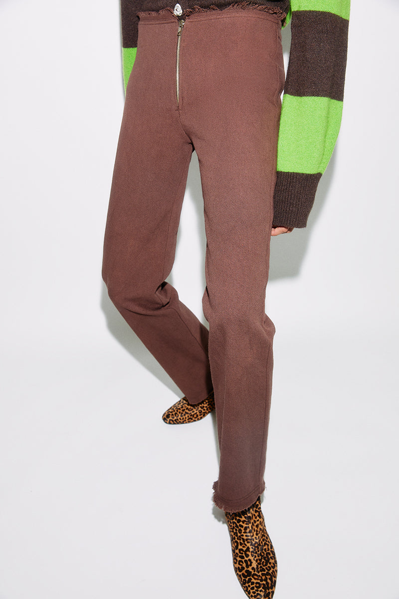 MONA - Low rise straight leg brown jeans