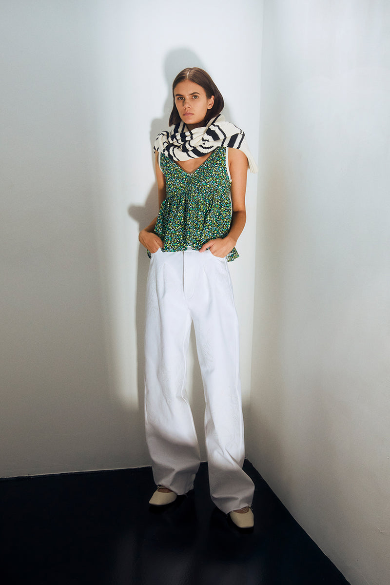 ARID - Embroidered pleated wide leg jeans