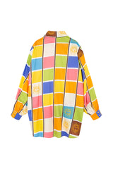 ANTON - Multicolor square printed long shirt